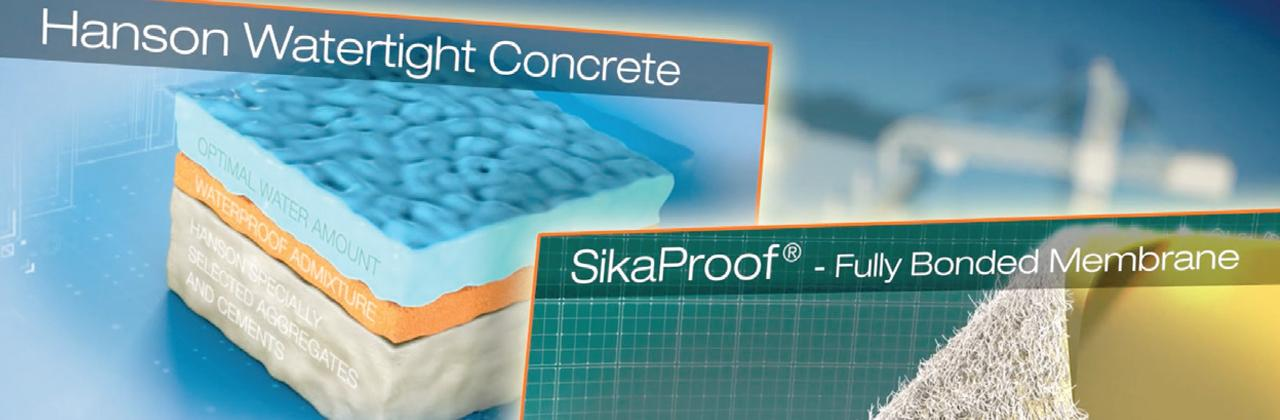 Waterproof concrete systems.