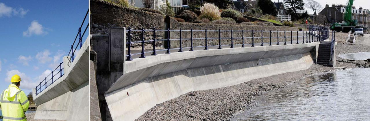 The Broughty Ferry coastal walkway project required a specially designed concrete mix.