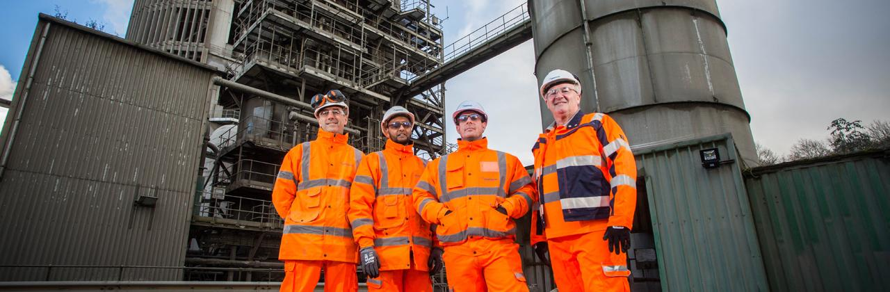 Ribblesdale cement plant. Ribblesdale staff from left: environment manager Nick Sharpe, quality technician Rasheed Firfire, project manager Chris Sheady and plant manager, Terry Reynolds.