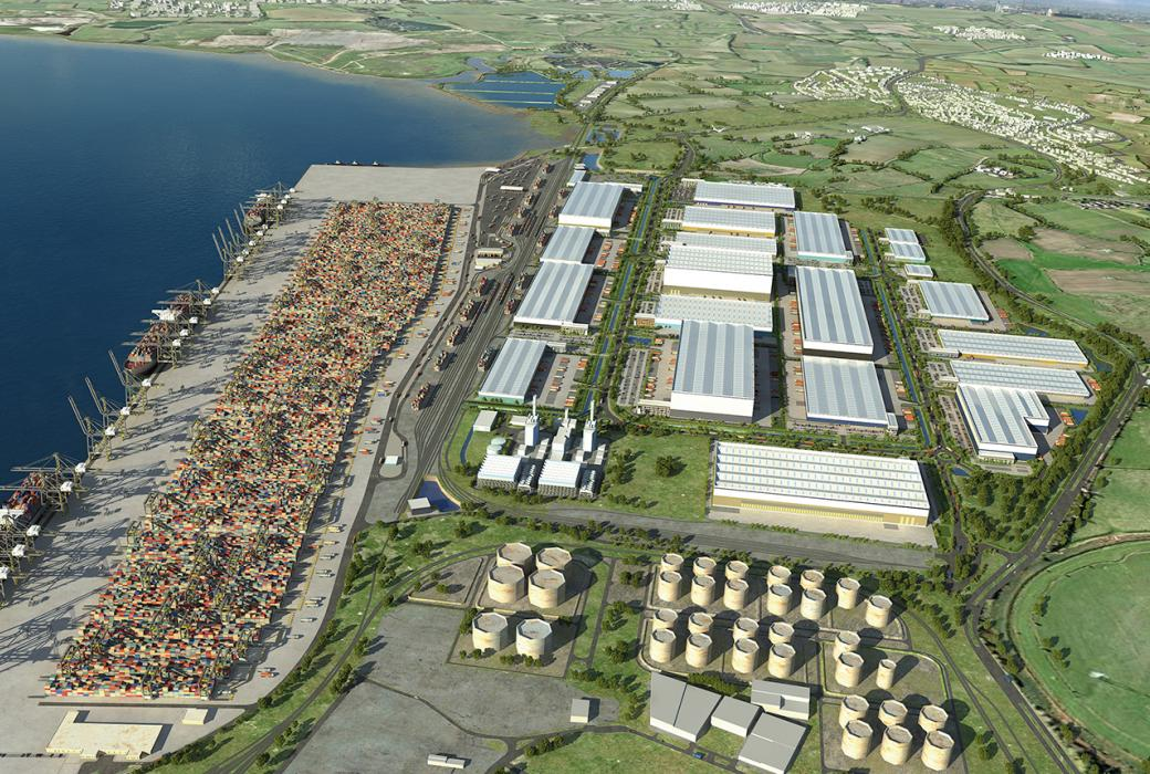 London Gateway Port Extension. An artist's impression of the completed port.